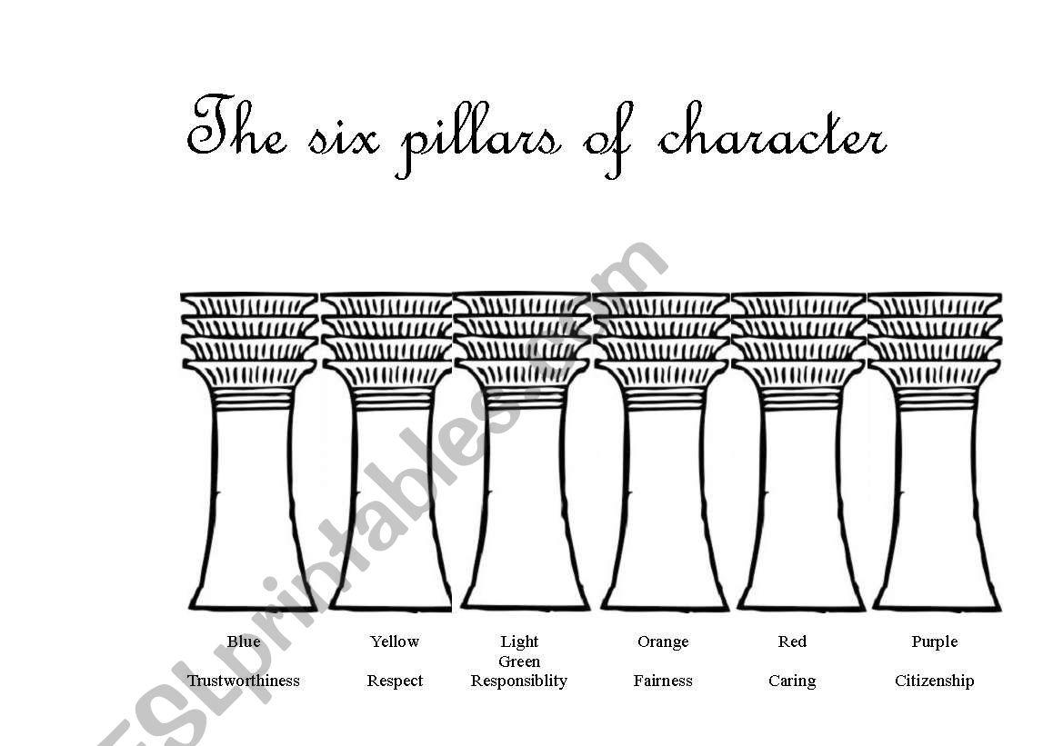 Worksheets Six Pillars Of Character Worksheets the six pillars of character esl worksheet by emerald11 worksheet