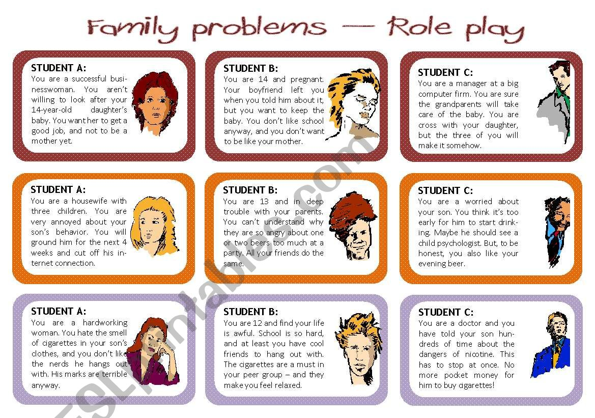 Family problems - role play worksheet