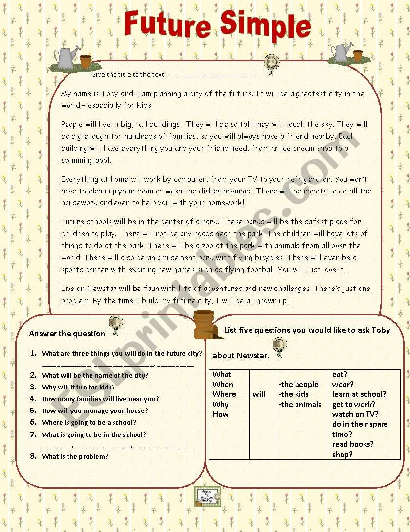 Future Simple worksheet