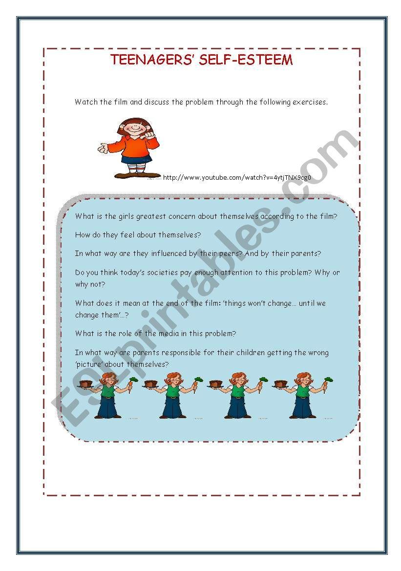 Agers Self Esteem Worksheet