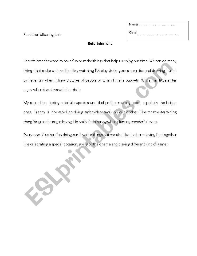 Reading Entertainment worksheet
