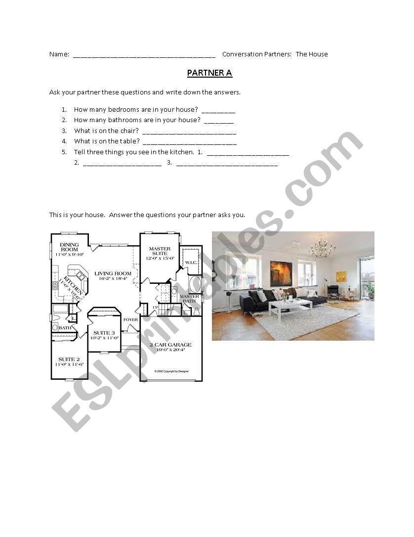 House Conversation Pairs worksheet