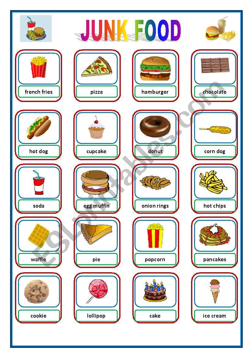 JUNK FOOD - Pictionary / Flashcards