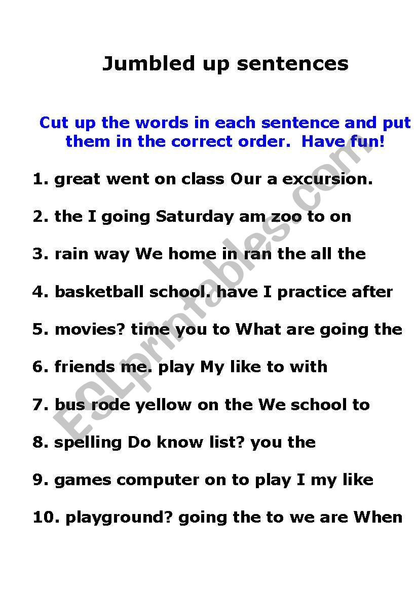 Jumbled sentences worksheets pdf with answers