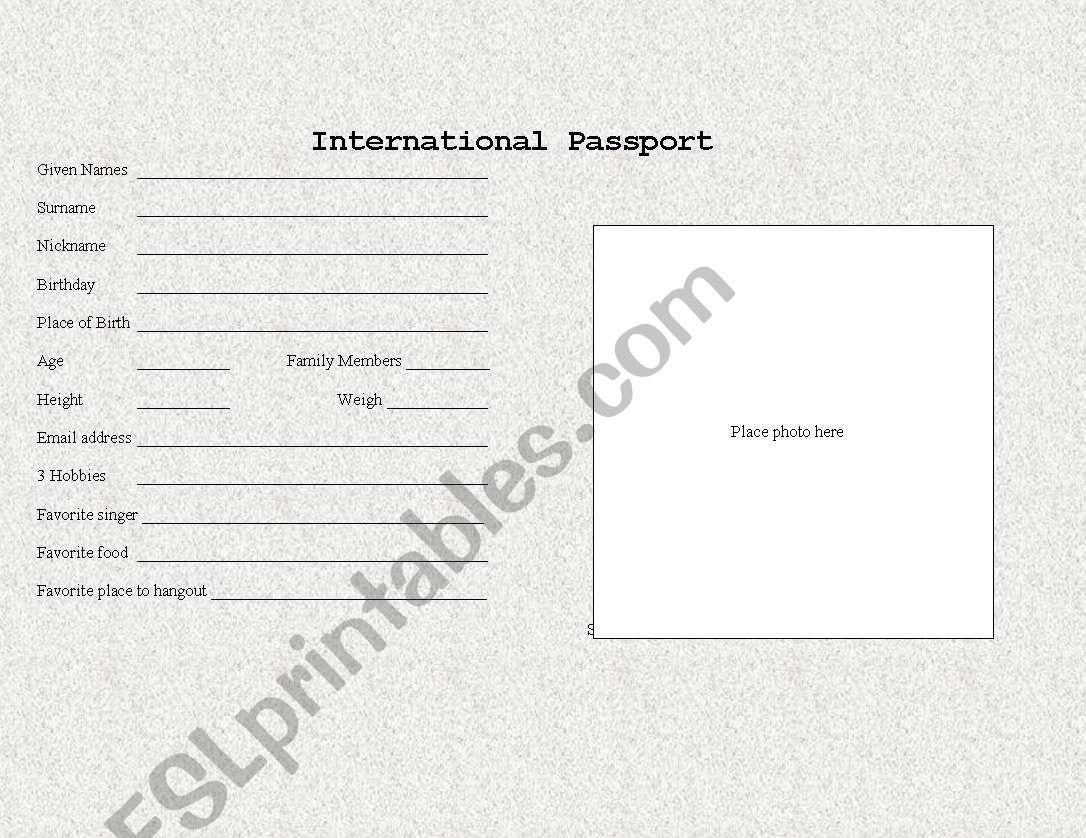 english worksheets  student passport template