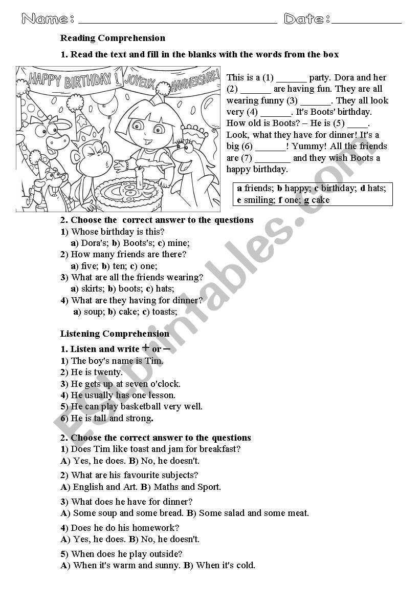 - Reading & Listening Comprehension For Beginner/Elementary Level