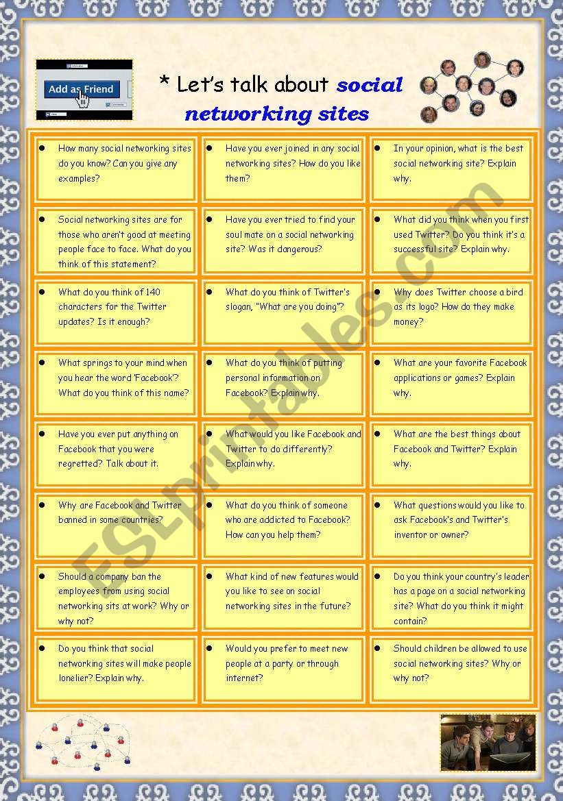 Let´s talk about social networking sites - Conversation worksheet for intermediate students