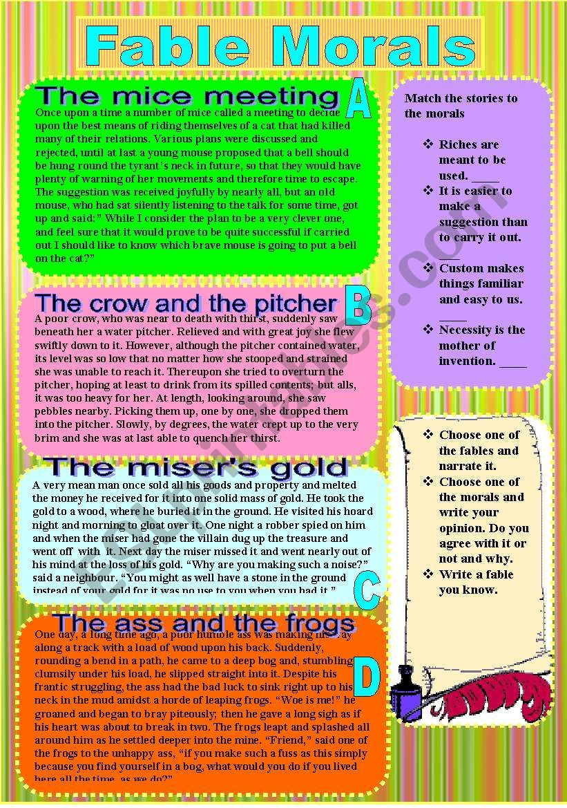 Fable Morals worksheet