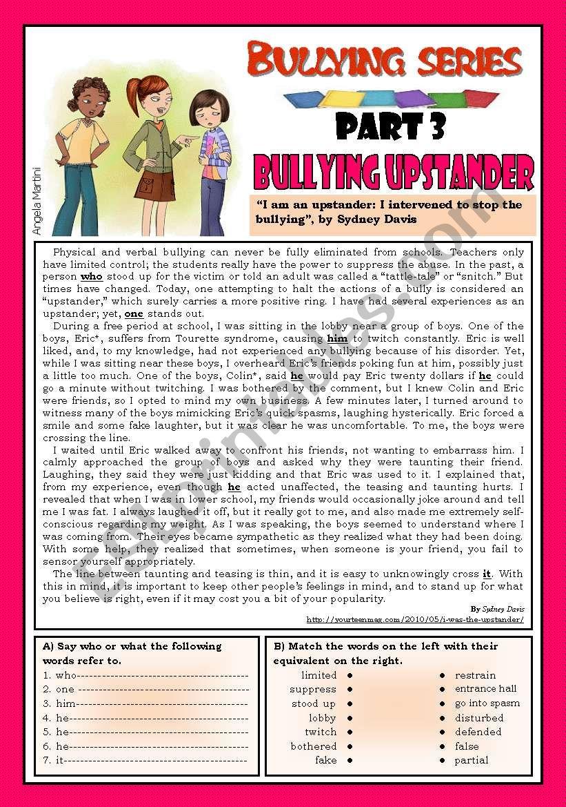 Bullying series - Part 3 - Bullying upstander