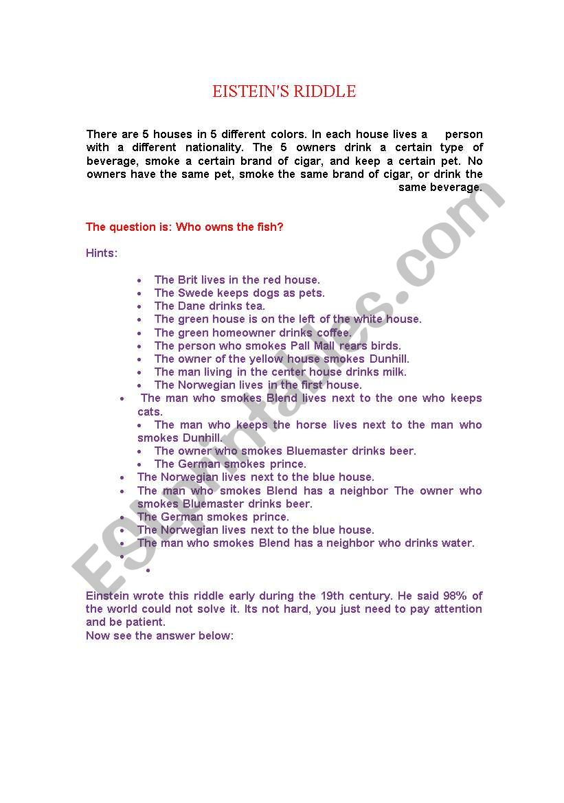 It's just a picture of Adaptable Einstein's Riddle Printable
