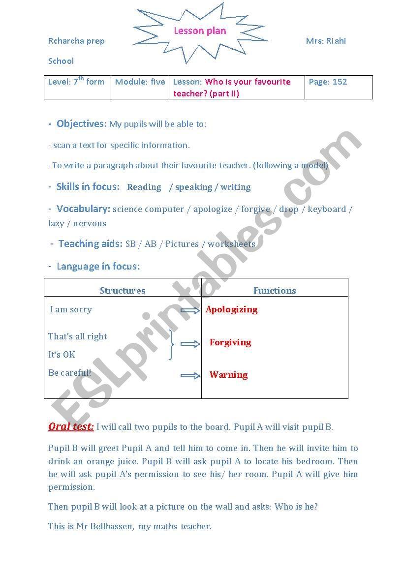 LESSON PLAN FAVOURITE TEACHER worksheet