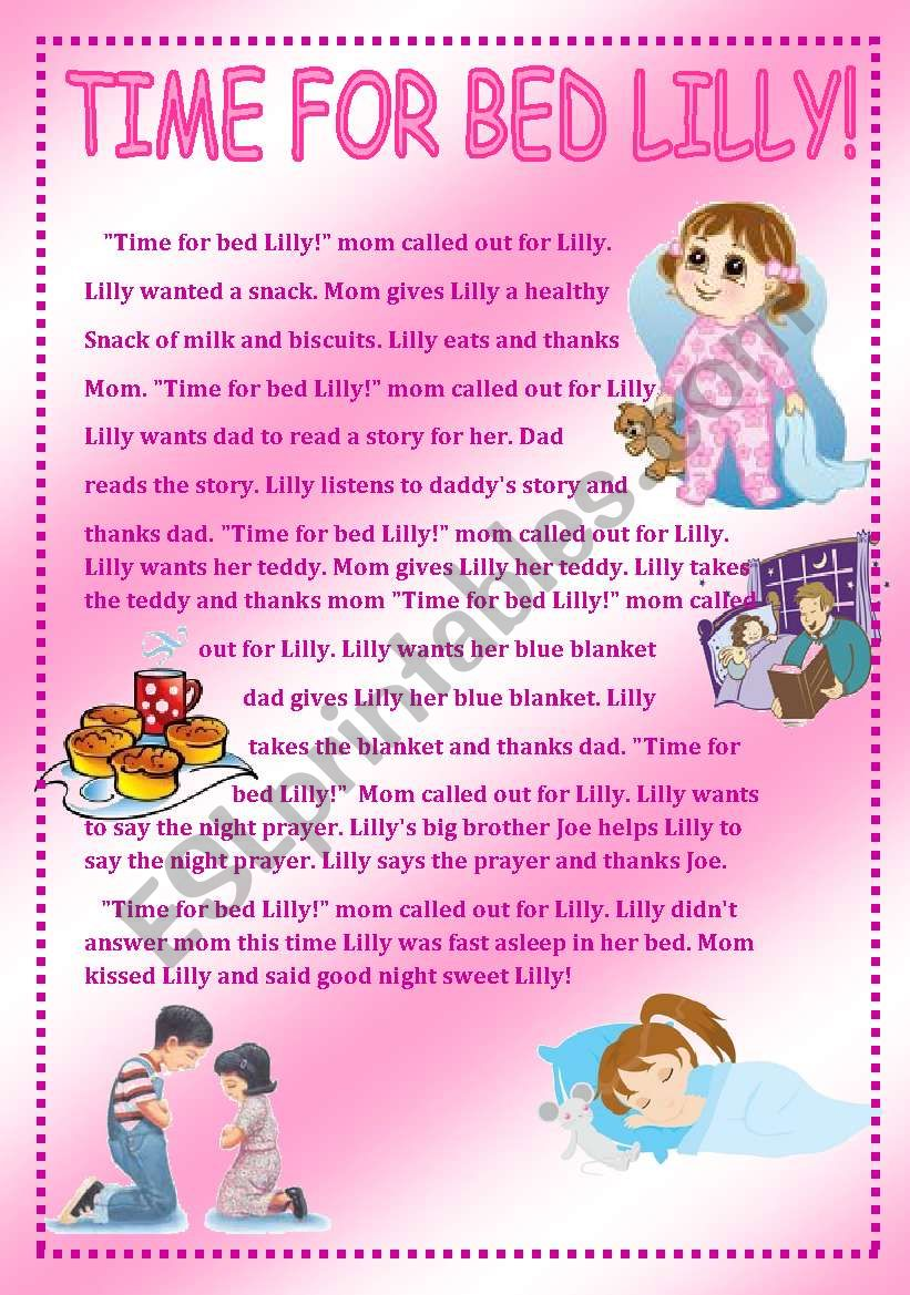 Time for bed Lilly worksheet