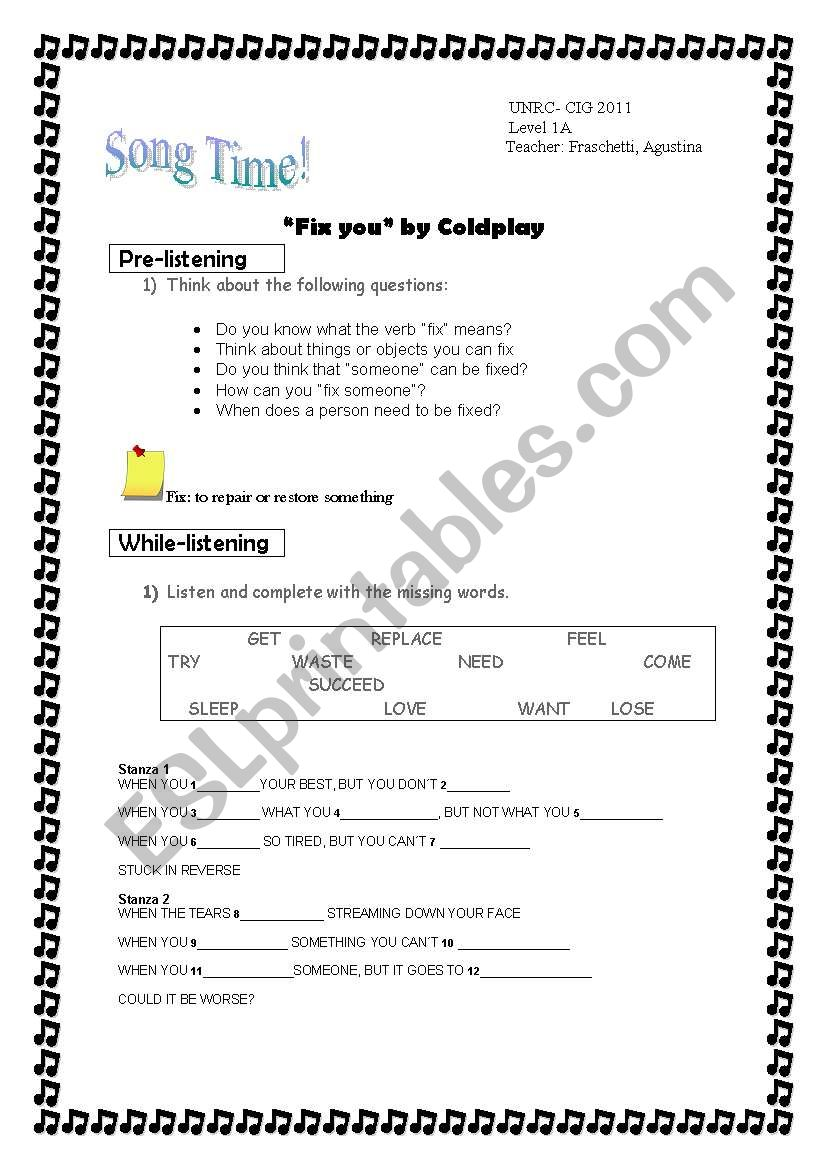 Song: Fix you by Coldplay worksheet
