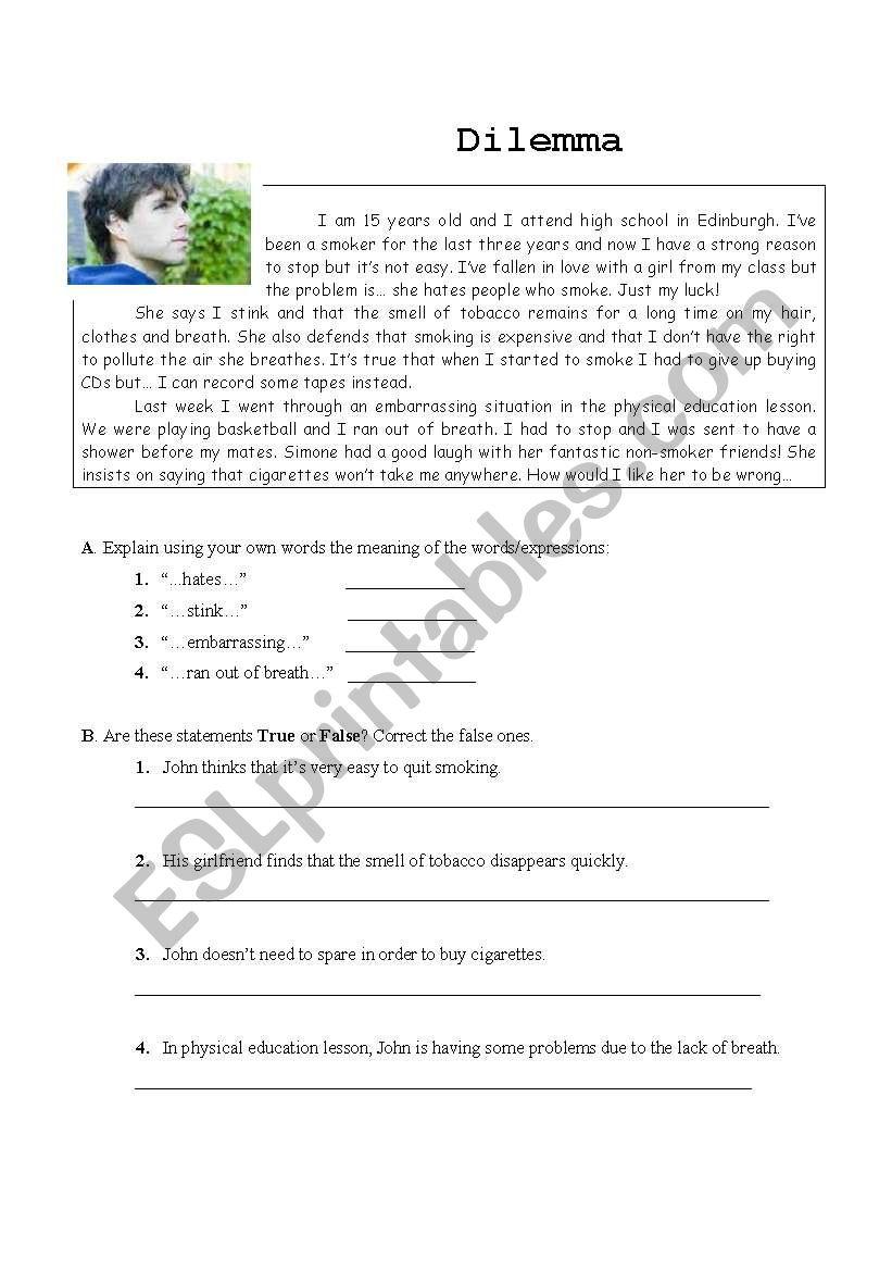 Smoking  worksheet