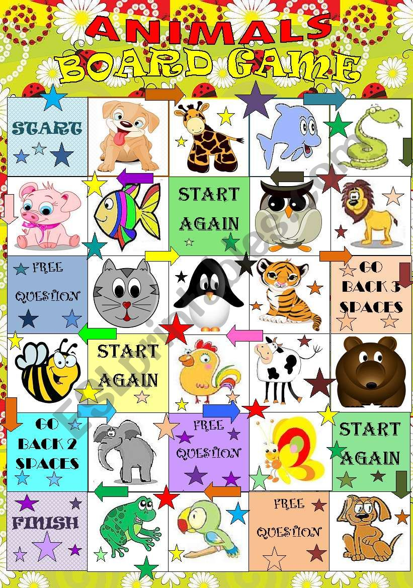 Animals BOARD GAME worksheet
