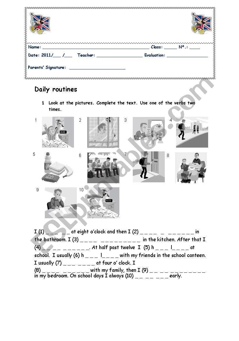 simple present test worksheet