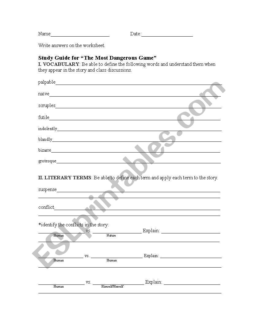worksheet The Most Dangerous Game Worksheets english worksheets the most dangerous game study guide guide