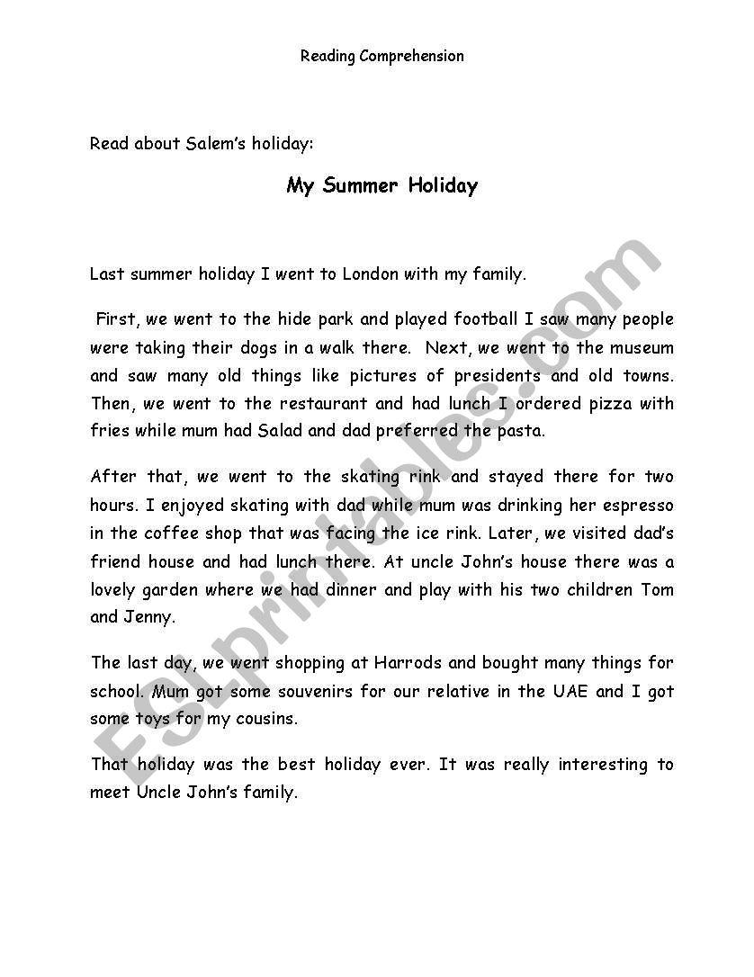My Summer Holiday worksheet