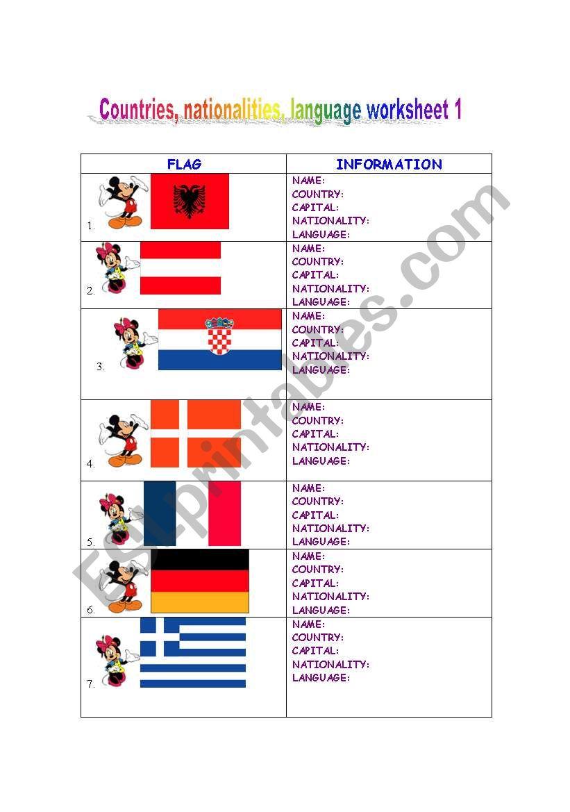 Countries, nationalities, languages spoken   ESL worksheet by natval