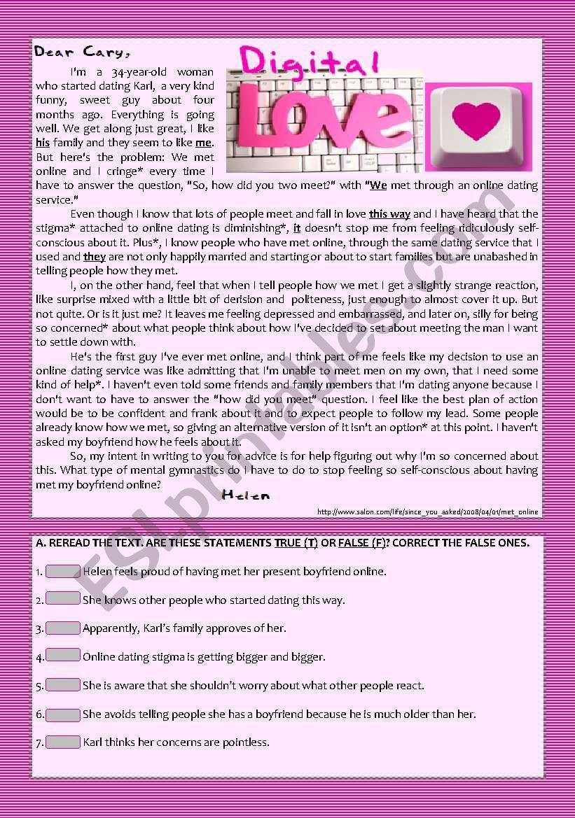 Text  - Digital Love (Online Romance) + Comprehension + Rephrasing + Essay/Debate