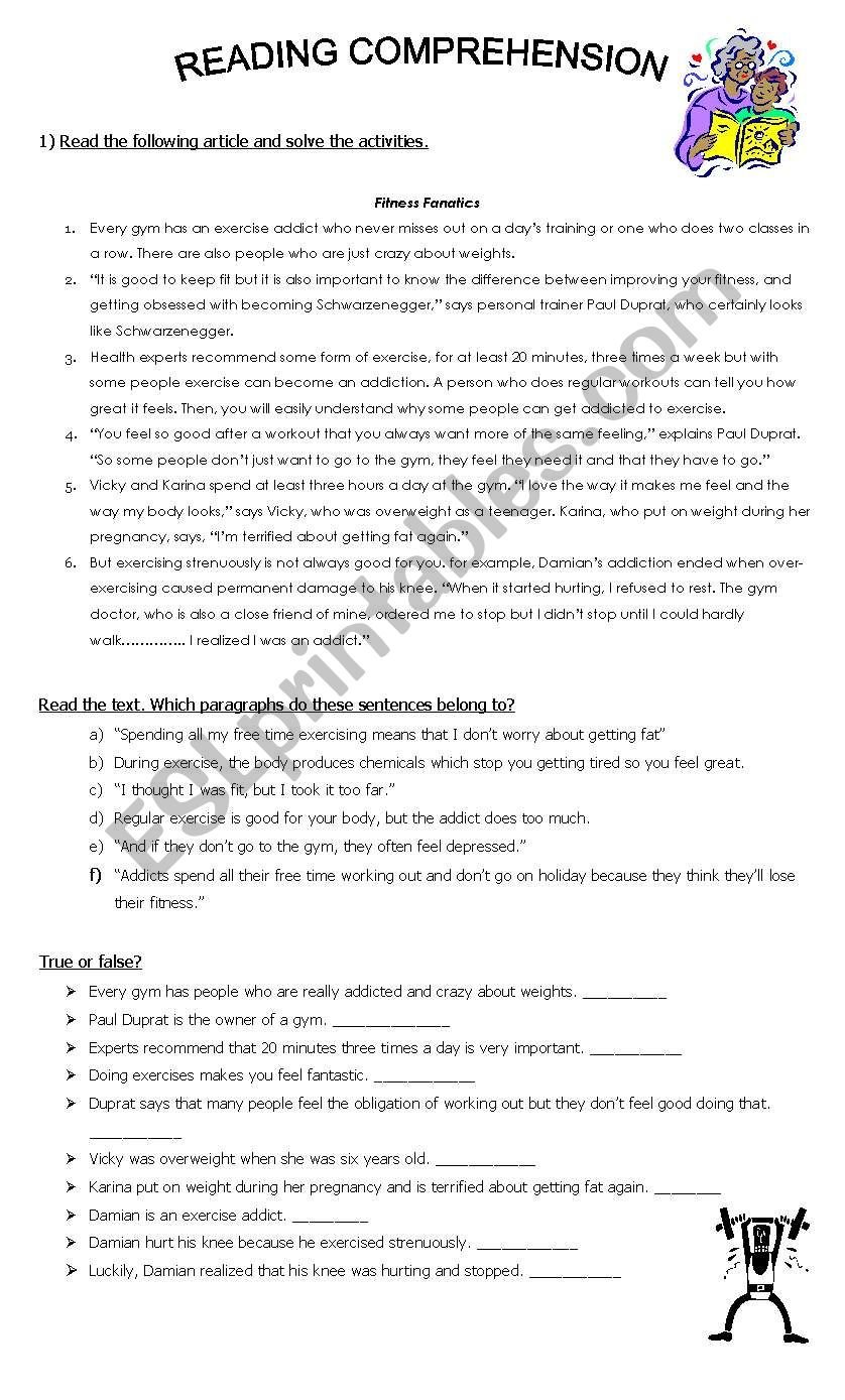 Reading Comprehension: Fitness - ESL worksheet by March