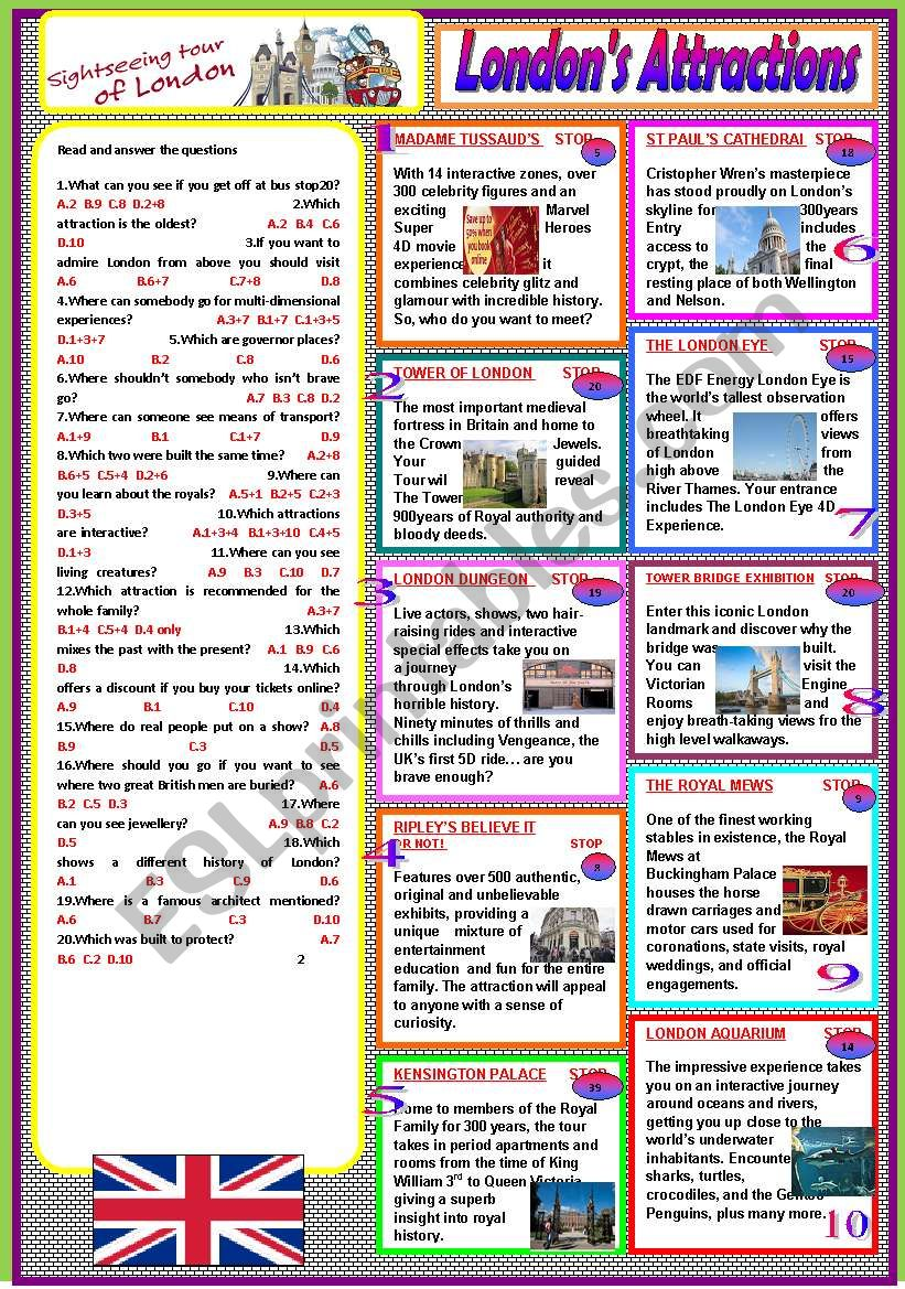 London´s attractions worksheet