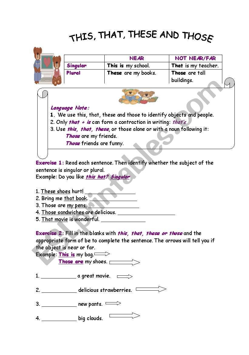 This That These And Those Esl Worksheet By Diva2402