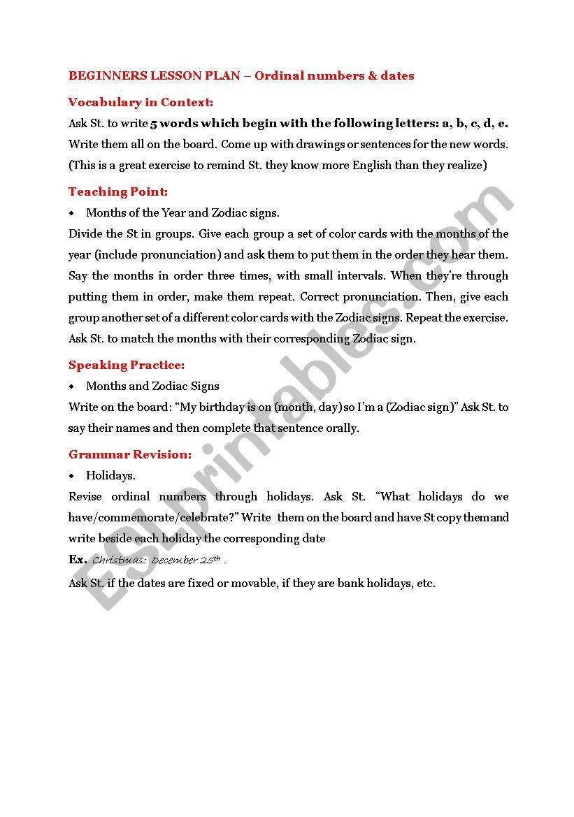 English worksheets: Beginners - Birthdays, Holidays & Zodiac Signs