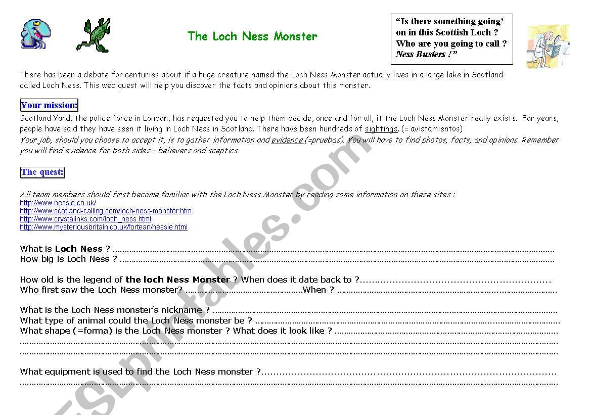 Loch Ness Monster Webquest worksheet