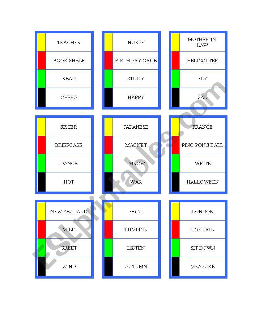 photo about Printable Pictionary Cards titled Pictionary playing cards - ESL worksheet through rgilbertson815