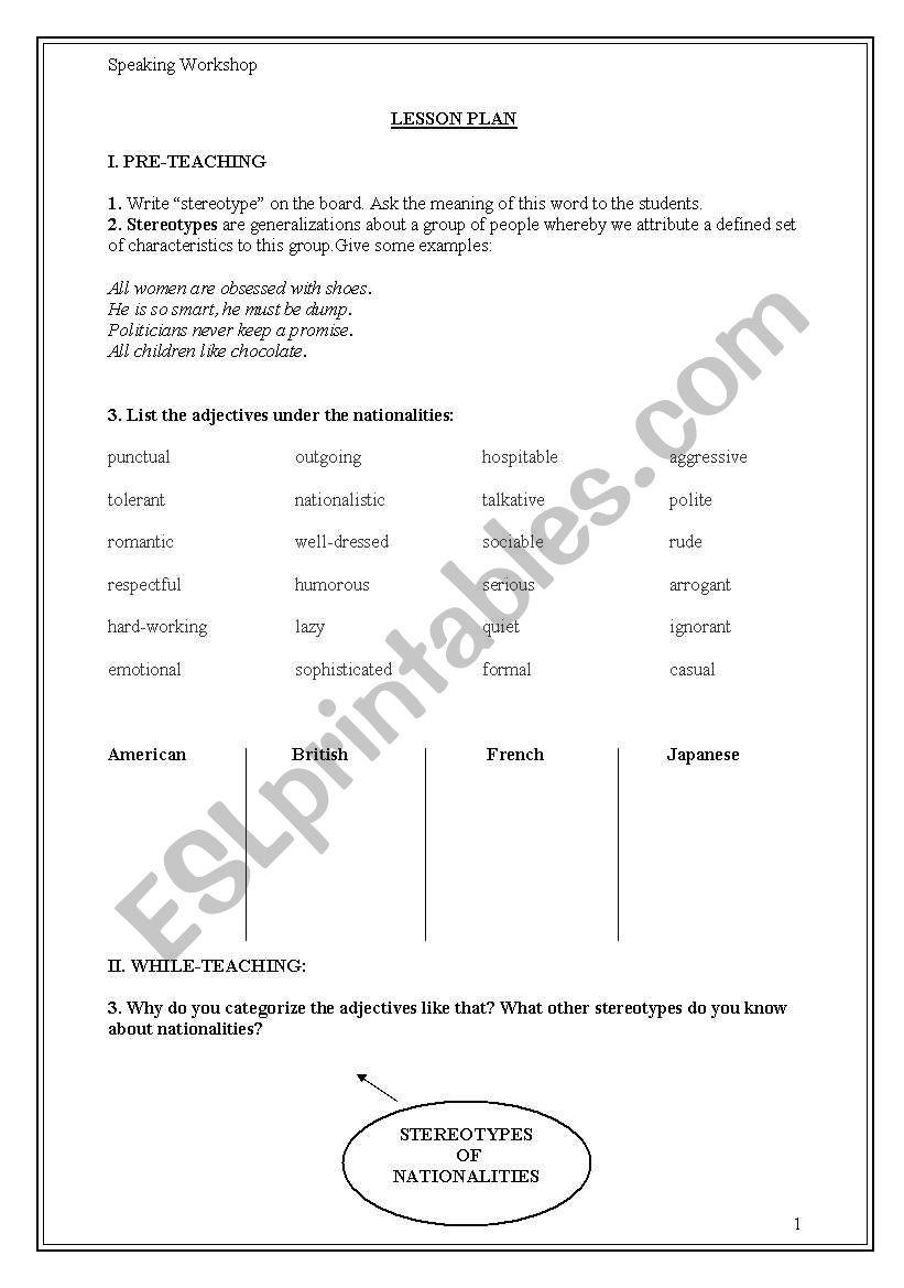 Speaking: STEREOTYPES worksheet