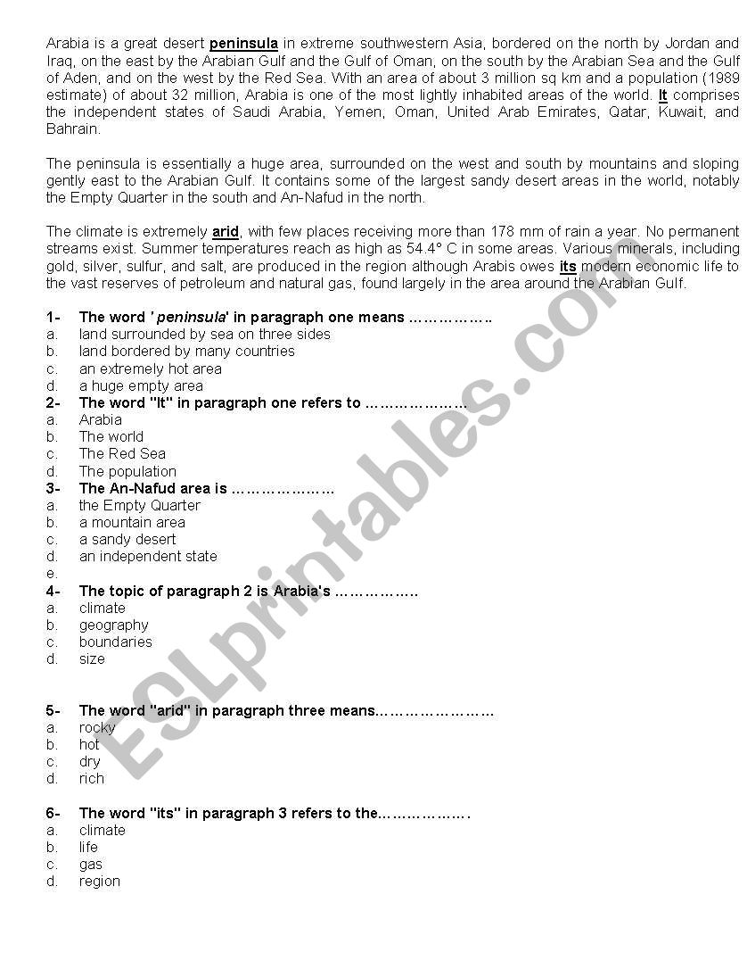 - Reading Comprehension+multiple Choice Questions - ESL Worksheet By