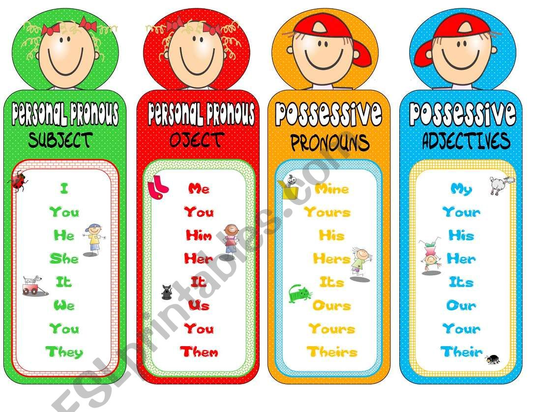 PRONOUNS-bookmarks 2 worksheet