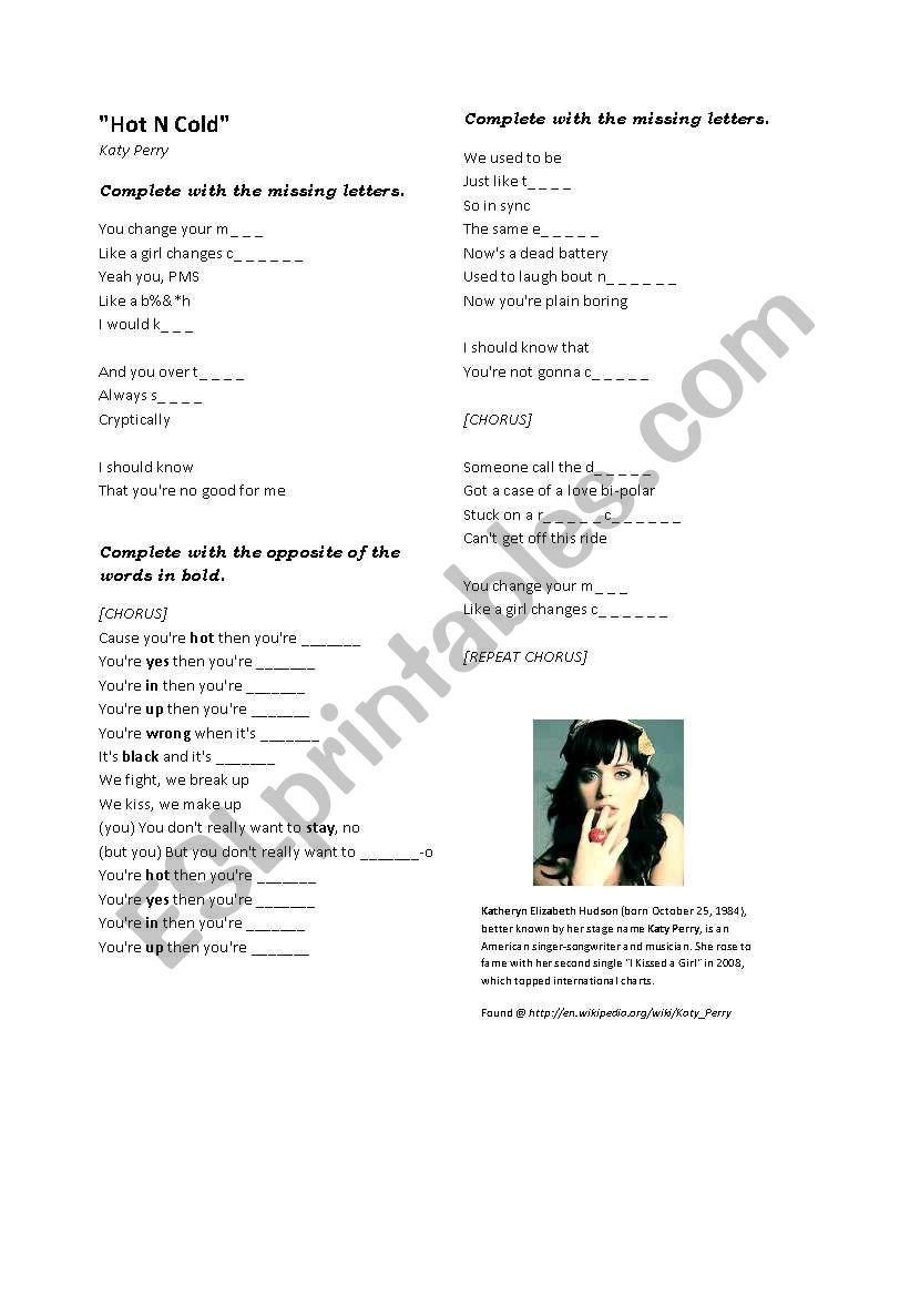 Katy Perry worksheet