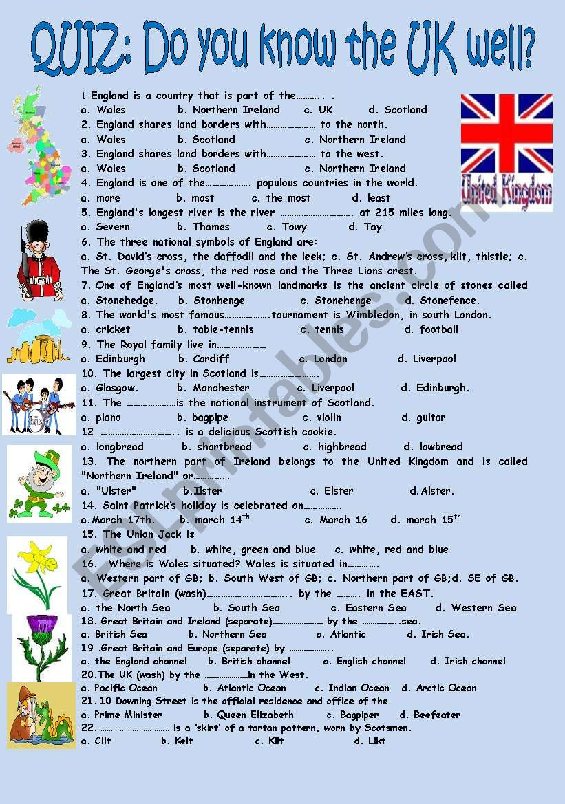 Quiz Do you know the UK well? worksheet