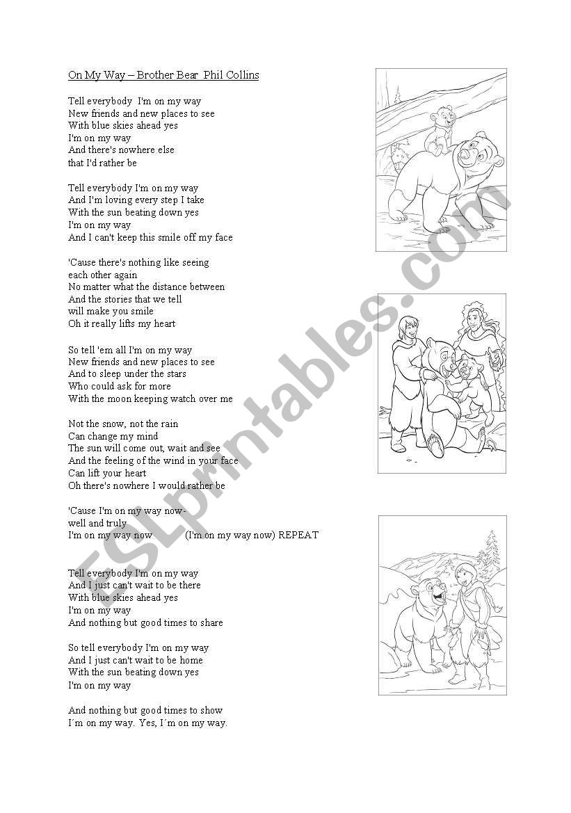 english worksheets song on my way phil collins