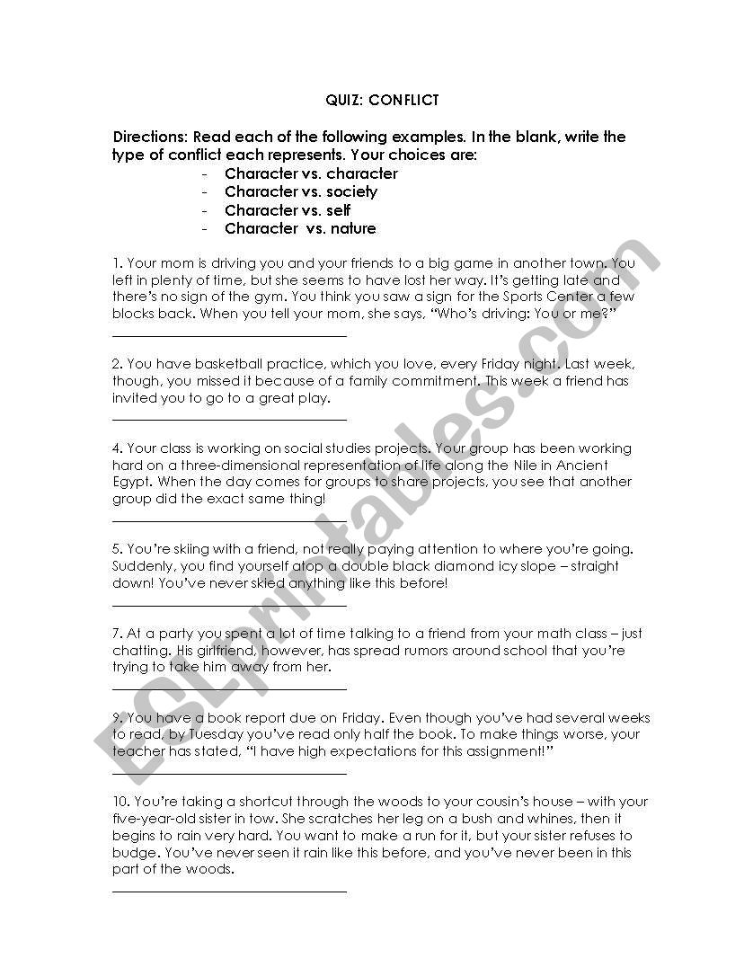Types Of Conflict Esl Worksheet By Cmbobino