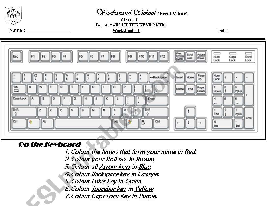 Worksheets Keyboard Worksheet computer keyboard esl worksheet by mohita worksheet