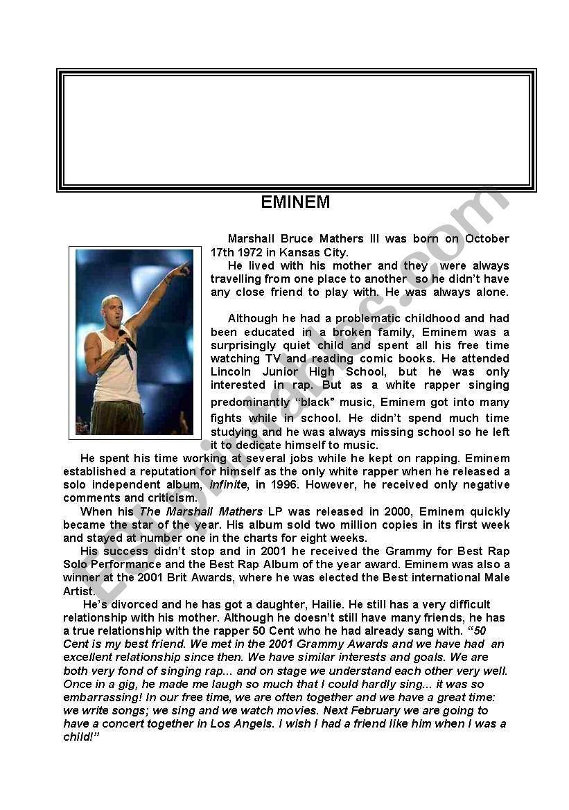 Eminem worksheet