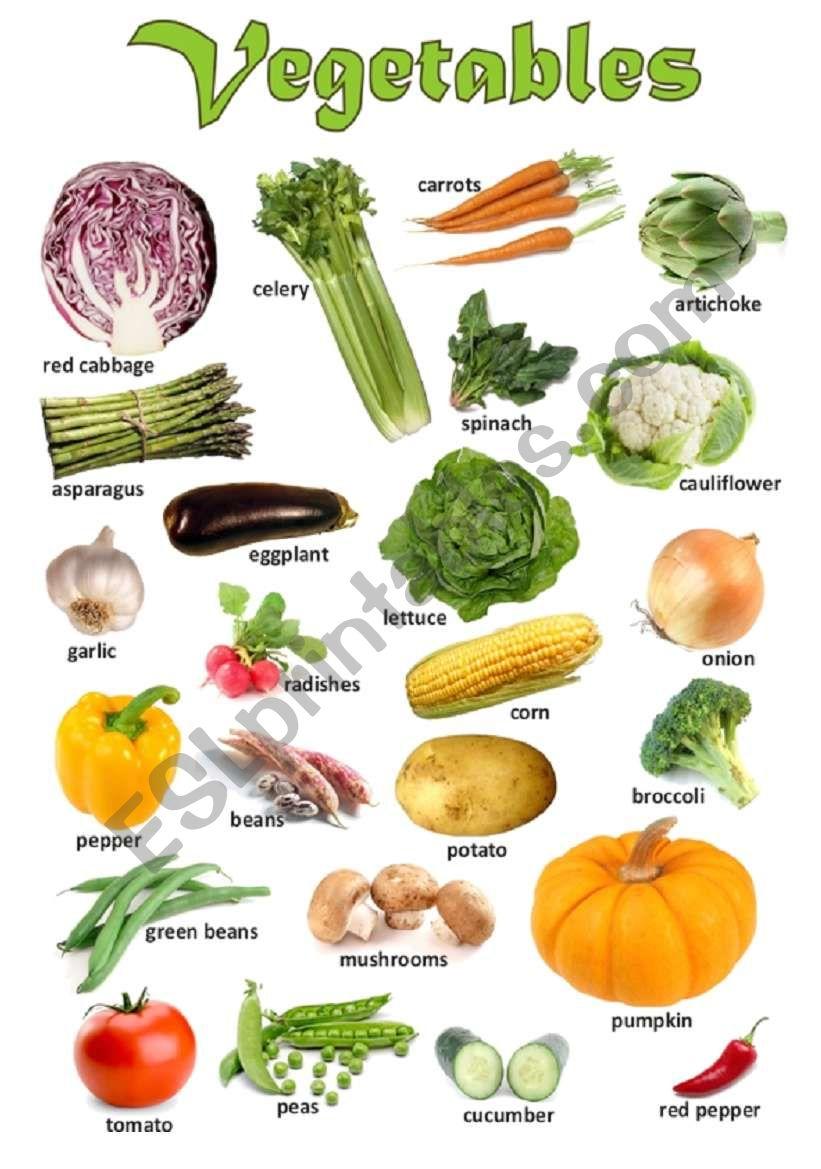 Vegetables - Poster worksheet
