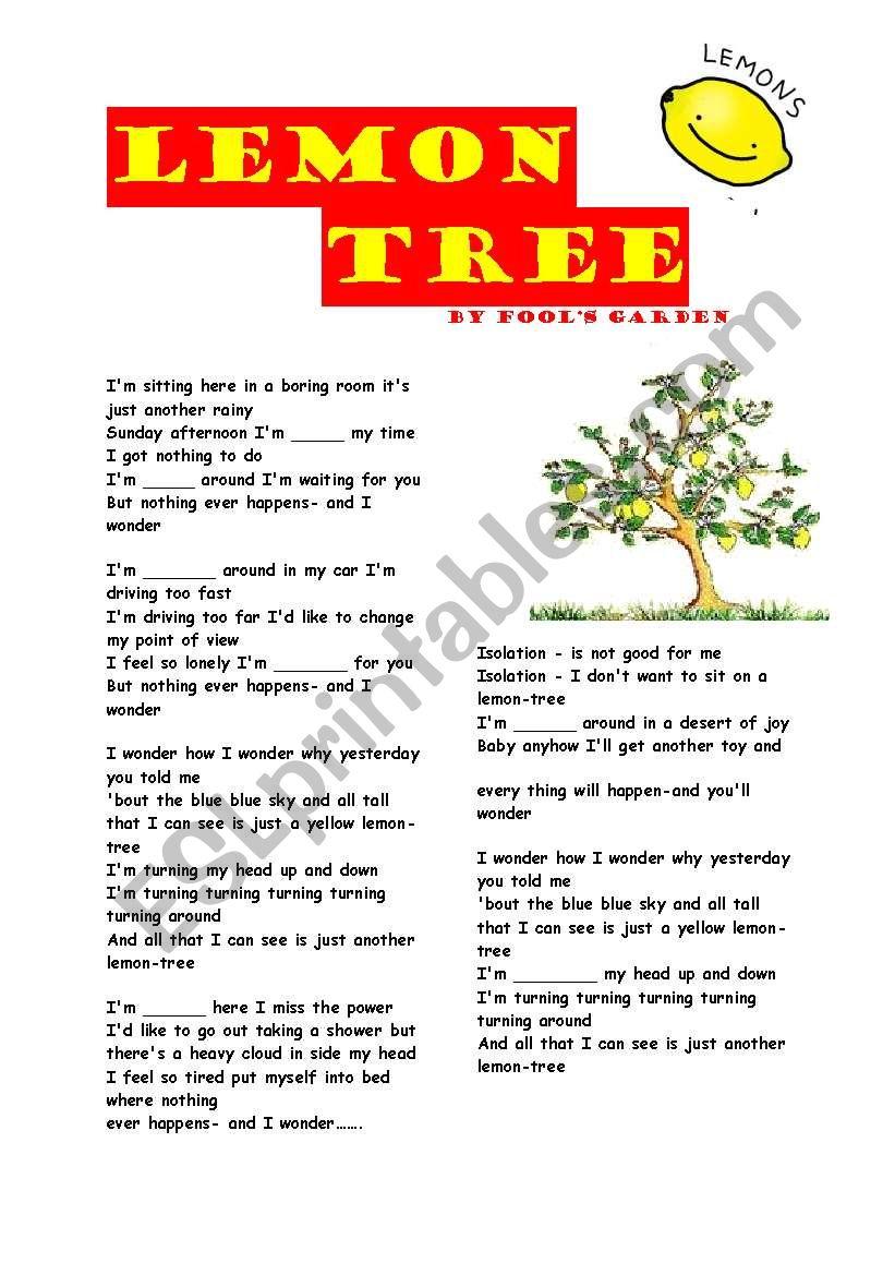 worksheet Lemon Tree Worksheet english worksheets lemon tree song worksheet
