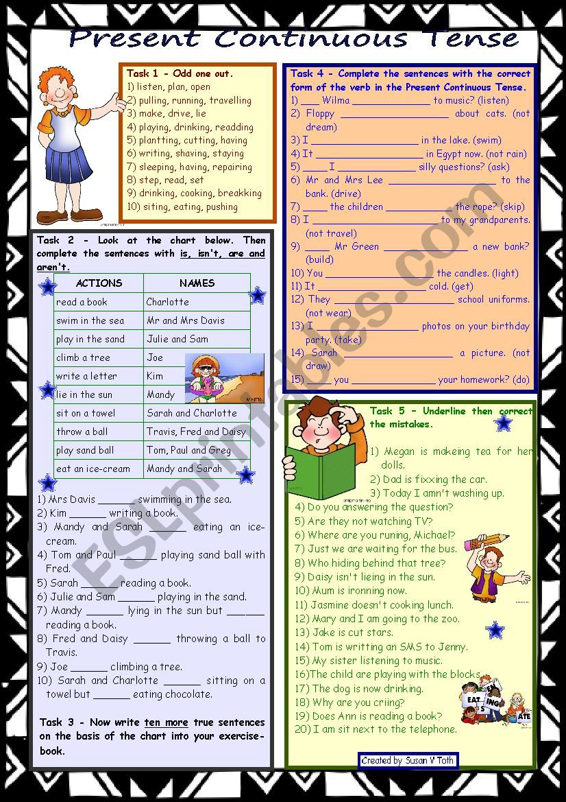 Present Continuous Tense *** 2 pages *** 8 tasks *** with KEY *** fully editable