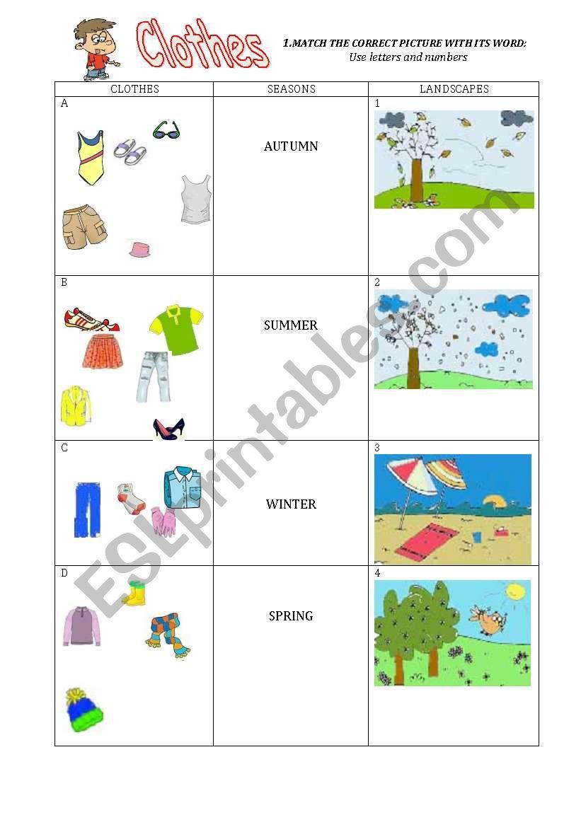 42fa6d62c72 Clothes and Seasons - ESL worksheet by honeybel
