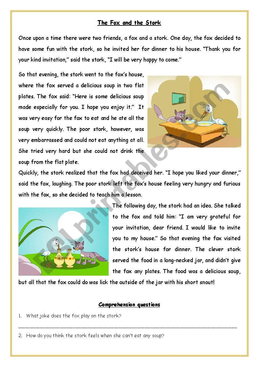 Fable The Fox And The Stork Esl Worksheet By Melipiro