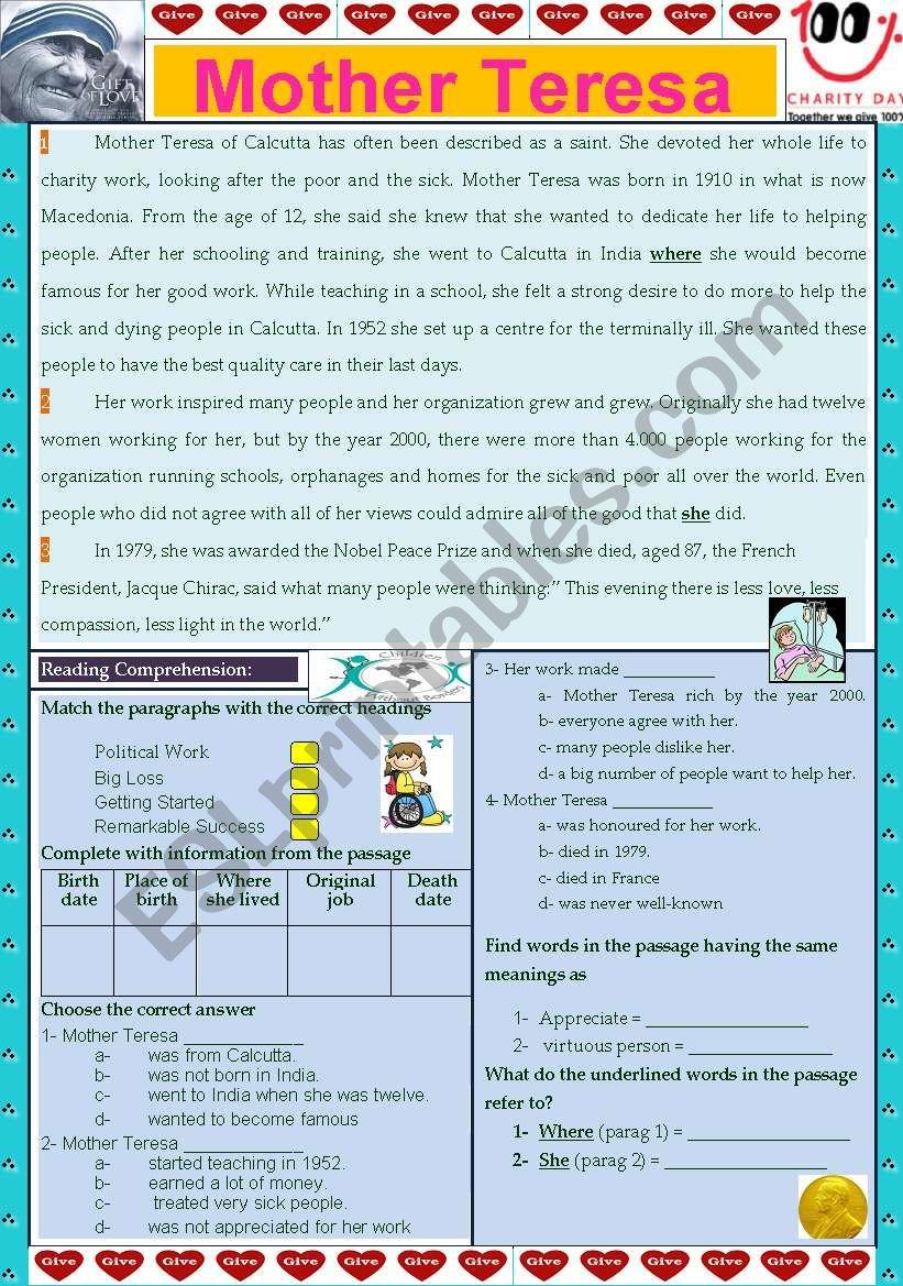 Mother Teresa worksheet