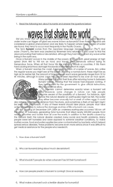 Tsunami Comprehension test worksheet