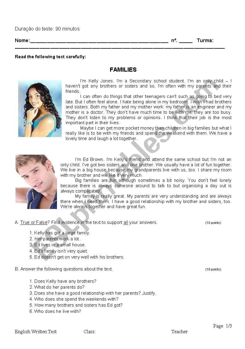 Families worksheet