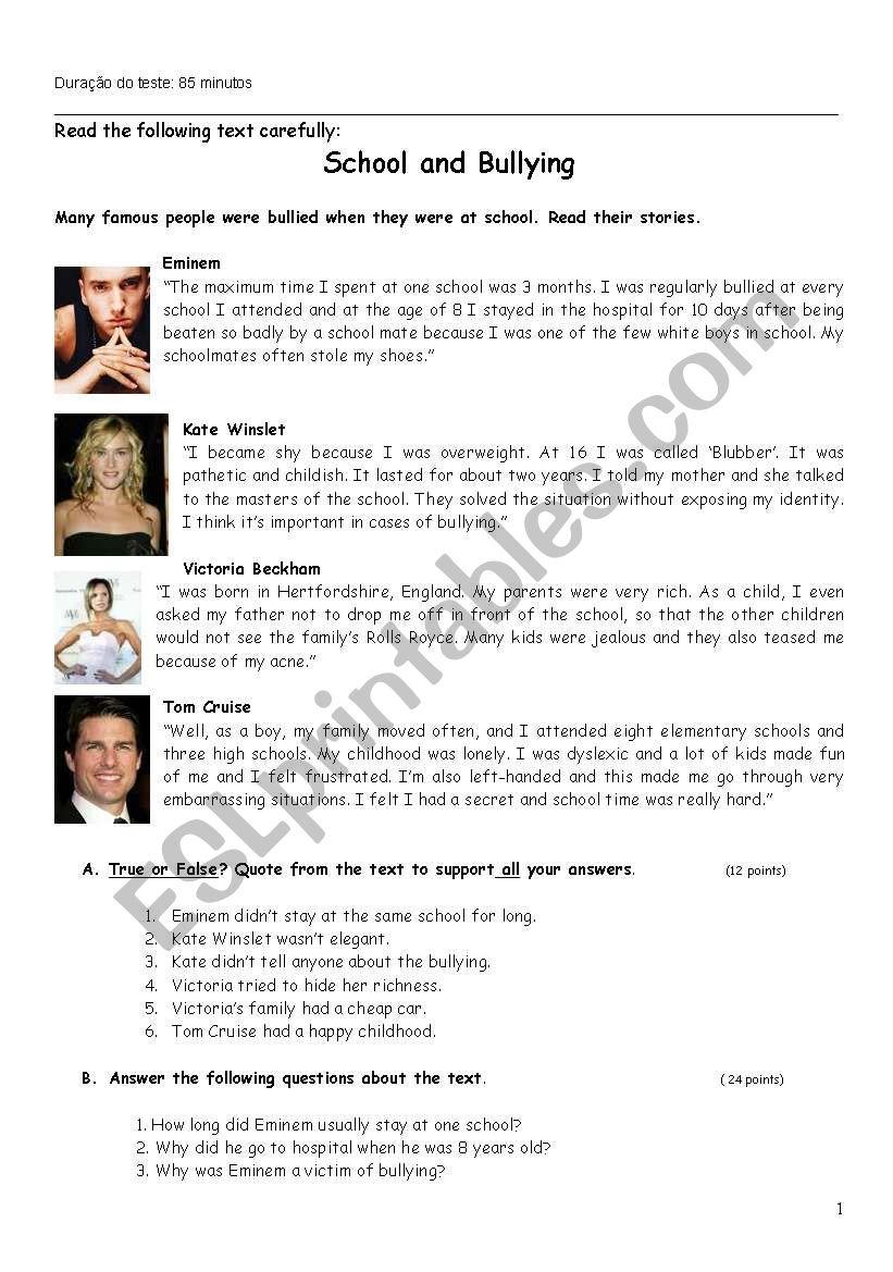 School and Bullying worksheet