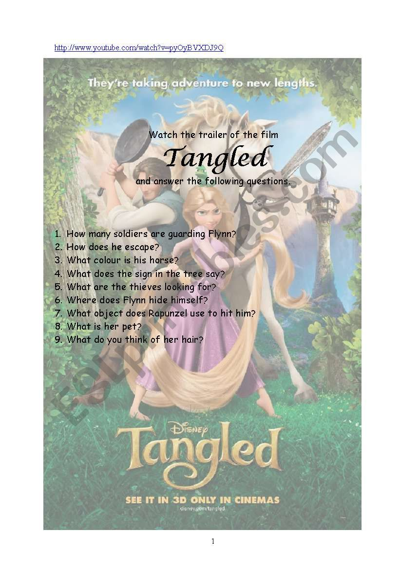 Tangled Trailer worksheet