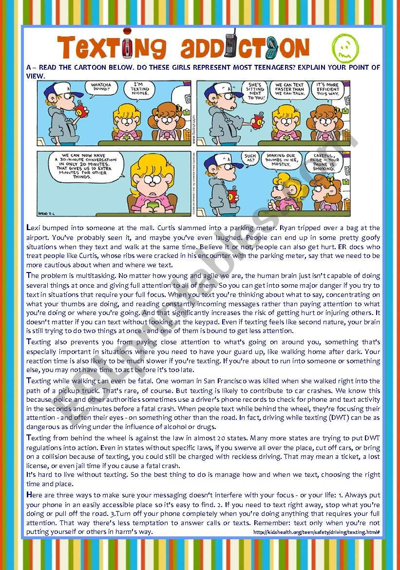 reading + comprehension + essay ´TEENS , TEXTING & MOBILE PHONES´